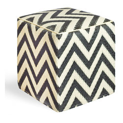 Fab Habitat - Laguna Sand/Black Cube - Chic chevrons are highlighted in this sophisticated ecofriendly cube. This handmade two-toned ottoman was crafted from recycled materials and will look so mod in your living room or as the stool to your vanity area.