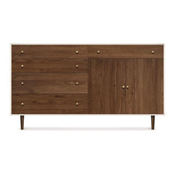 Copeland Furniture - Copeland Furniture Mimo 4 Drawer On Left, 1 Drawer Over 2 Doors On Right Dresser - The MiMo 1 drawer is crafted in solid maple hardwood with white finish and American black walnut hardwood.