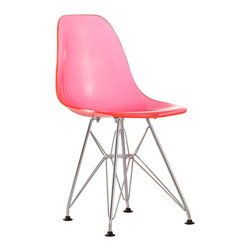 """Zuo - Zuo Baby Spire Transparent Pink Kids Chair - Perched atop an intricate chrome finish steel base the Baby Spire Collection features modern seats for your child to enjoy. This transparent pink kids chair is both a comfortable place to sit and an eye-catching accent piece. The seat is made of a molded ABS plastic that is durable and easy to clean. Design by Zuo Modern. ABS plastic molded seat. Transparent pink kids chair. Chrome finish steel base. Some assembly required. Seat is 10 1/2"""" high 10 1/2"""" wide. 22 1/2"""" high. 12"""" wide.  ABS plastic molded seat.  Transparent pink kids chair.  Chrome finish steel base.  Some assembly required.  Seat is 10 1/2"""" high 10 1/2"""" wide.  22 1/2"""" high.  12"""" wide."""
