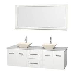 "Wyndham Collection - Centra 72"" White Double Vanity, White Man-Made Stone Top, Bone Porcelain Sinks - Simplicity and elegance combine in the perfect lines of the Centra vanity by the Wyndham Collection. If cutting-edge contemporary design is your style then the Centra vanity is for you - modern, chic and built to last a lifetime. Available with green glass, pure white man-made stone, ivory marble or white carrera marble counters, with stunning vessel or undermount sink(s) and matching mirror(s). Featuring soft close door hinges, drawer glides, and meticulously finished with brushed chrome hardware. The attention to detail on this beautiful vanity is second to none."