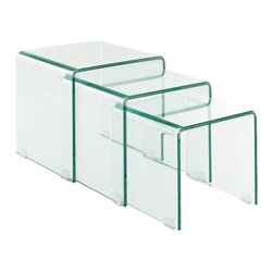 Modway - Cascade Coffee Table in Clear - Flow forth with existential leaps in a three-fold process of discovery. The Cascade Glass Nesting Table Set signifies an exhibition that takes you and your acquaintances into the realm of exponential growth. Convenient and stylish, add a motivating force to your dcor with these compact and tuck-away tables.
