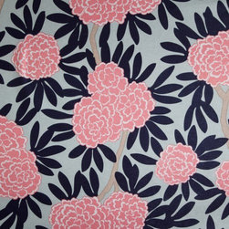 Navy Fleur Chinoise Fabric - Asian blooms cascade through bold leaves & wandering branches in my principal pattern, Fleur Chinoise. Classic navy & poppy pink on aqua make this smart colorway tailored to fit any decor.