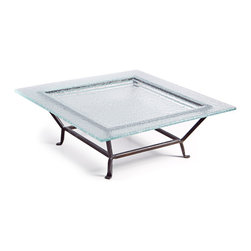 Danya B - Large Elevated Square Textured Glass Plate on Raised Iron Stand - This gorgeous Large Elevated Square Textured Glass Plate on Raised Iron Stand has the finest details and highest quality you will find anywhere! Large Elevated Square Textured Glass Plate on Raised Iron Stand is truly remarkable.