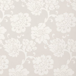 Schumacher - Albero Floreale Wallpaper, Grey - The pretty Albero Floreale wallpaper print is featured in the Palazzo Damasks Collection. It comes in five colorways including blue, bisque and petal.