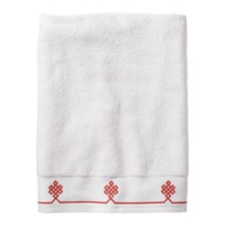 Serena & Lily - Coral Gobi Bath Towel - We believe a bath towel should be one of life's little luxuries. Woven in Portugal from supremely soft cotton, they're lofty, absorbent and quick to dry. The embroidered motif was borrowed from our best-selling sheets, adding the perfect color pop to classic white bath and hand towels. Best of all they won't fade, fray or wear out.