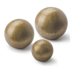 Kathy Kuo Home - Finizio Industrial Loft Brass Sheet Metal Spheres - Set of 3 - Reminiscent of a small cannon ball, this riveted metal ball adds a vintage industrial touch to any space when used as a decorative object. Set comes with small, medium, and large sphere.