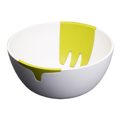 Joseph Joseph - Hands On Salad Bowl and Servers, White - The striking design of this salad bowl is the result of its unique feature - a pair of hand-like salad servers integrated on either side of the bowl. Blending smoothly into the contours of the design, the servers sit securely in place until required.