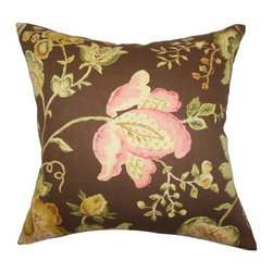 "The Pillow Collection - Kelila Floral Pillow Brown 20"" x 20"" - Lend a romantic and nature-inspired decor style to your interiors with this floral throw pillow. This accent pillow features a blooming floral pattern in shades of pink, green, yellow and brown. This square pillow looks great on your sofa, bed or seat. 100% cotton-made and constructed in the USA."