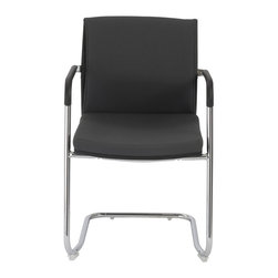 Eurostyle - Baird Visitor Chair (Set Of 2)-Gray/Chrm - 80% polyester