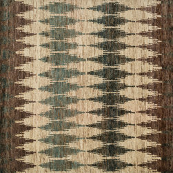 "Loloi Rugs - Loloi Rugs Xavier Collection - Pinebark, 7'-9"" x 9'-9"" - The sumptuous Xavier Collection is distinguished by its plush feel and bright, bold color palette. Hand knotted with 100% jute from India, Xavier's large scale Ikat design offers sophistication that works as an incredible centerpiece for a variety of room settings."