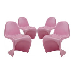 Modway Imports - Modway EEI-1255-PNK Slither Dining Side Chair Set of 4 In Pink - Modway EEI-1255-PNK Slither Dining Side Chair Set of 4 In Pink