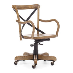 ZUO ERA - Union Square Office Chair Natural - Add a bit of French flair to your home office. This solid wood cafe style chair features an antique metal x-back design and wheels for easy movement. It's comfy, functional and available in three rustic finishes.