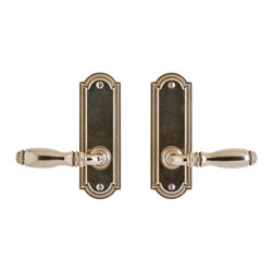 Rocky Mountain Hardware Ellis Screen Door Hardware - Just in time for summer. This is classy screen door hardware. Shown as a dummy set with a Mini Ellis lever in white bronze, light patina.
