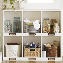 """Mitchell Cubby Organizers - Use this cubby station for organizing kitchen supplies or in the mudroom for keeping everyone's stuff in it's proper place. 42"""" wide x 12"""" deep x 36"""" h. Made with a poplar-wood frame. Comes in Dover White."""