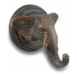 Zeckos - Antiqued Bronze Finish Elephant Head Single Wall Hook - This wonderfully detailed elephant head wall hook has an antiqued metallic bronze finish that gives it the look of metal. Made of cold cast resin, the wall hook hangs easily to your wall with a single screw, and can hold up to 5 pounds. It's perfect for holding keys or dog leashes, but can also hold jackets, scarves or bathrobes. It measures 4 inches tall, 3 3/4 inches wide and 3 3/4 inches deep. It makes a great gift for elephant collectors.