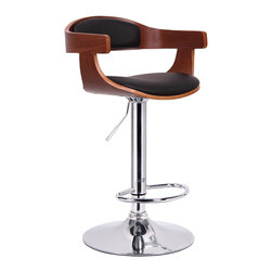 Baxton Studio - Baxton Studio Garr Walnut and Black Modern Bar Stool - Kitchen counters and bars are high-traffic zones and can be a challenge to furnish. Our Garr Bar Stool makes it a snap to choose the right seating! This fashionable modern bar chair comes with a walnut veneered plywood seat that features foam padding and black faux leather cushions. It works perfectly at any table, bar, or counter because of its adjustable height and 360 degree swivel features. Furthering its contemporary bar furniture appeal is a steel gas lift piston and base, which have been finished off with shiny, reflective chrome. A plastic protective ring completes the base and keeps scratches off your hard flooring. Made in China; assembly is required. To clean, wipe with a damp cloth.