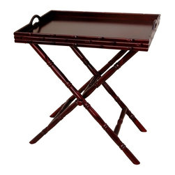 Oriental Unlimited - Portable Rosewood Tea Tray w Trestle Stand - Includes serving tray and trestle stand. Portable trestle folds for convenience when not in use. Great for serving food or beverages anywhere in the home or office. 2 Tone Black lacquer and light Rosewood serving tray and stand. 24 in. W x 15 in. D x 27.5 in. H (7.5 lbs.)