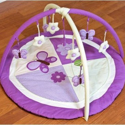 Lavendar Butterfly Play Gym - About Pam Grace CreationsPam Grace Creations was created by Pam Val, a loving wife and mother of four, in January of 2006. Pam had seven years of experience in the baby bedding and nursery decor industry from working with her sister to run their own baby product business. She brought this experience and knowledge of the industry to her own company, and Pam Grace Creations was born. Pam is committed to providing new parents a combination of style, affordability, and convenience, and to that end she created her Nursery-to-Go 10 piece baby bedding sets. These sets include everything parents need to outfit their new baby's room in a range of styles and color palettes at an affordable price--without having to hunt down their nursery items piece by piece.