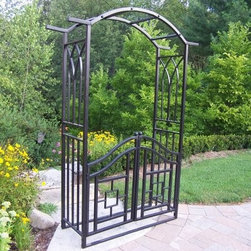Oakland Living Royal Arbor with Gate - Separate your garden from your patio with the beautifully designed Oakland Living Royal Arbor with Gate. Constructed from durable tubular iron with a hardened powder coat finish in classic black this gated arbor is fade- chip- and crack-resistant. You'll love stepping through the gate into your own secret garden and enjoying the natural calm and beauty of your garden. Enter your own private world and get away from life for a bit or spend time with friends and loved ones in a beautiful and intimate setting. The Royal Arbor with Gate is the perfect piece for creating a small world that is surrounded by beautiful colors and living things. Additional Features Some assembly required Limited 1-year warranty