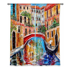 "DiaNoche Designs - Window Curtains Unlined by Karen Tarlton - Venice Magic II - DiaNoche Designs works with artists from around the world to print their stunning works to many unique home decor items.  Purchasing window curtains just got easier and better! Create a designer look to any of your living spaces with our decorative and unique ""Unlined Window Curtains."" Perfect for the living room, dining room or bedroom, these artistic curtains are an easy and inexpensive way to add color and style when decorating your home.  The art is printed to a polyester fabric that softly filters outside light and creates a privacy barrier.  Watch the art brighten in the sunlight!  Each package includes two easy-to-hang, 3 inch diameter pole-pocket curtain panels.  The width listed is the total measurement of the two panels.  Curtain rod sold separately. Easy care, machine wash cold, tumble dry low, iron low if needed.  Printed in the USA."