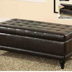 Furniture of America - Furniture of America Espresso Flip-top Bicast Leather Storage Bench - Use this stylish leather storage bench in any room in your home to create additional seating and ample storage space. The bench features a padded seat for optimal comfort and leather upholstery that can easily be wiped clean if it gets dirty.