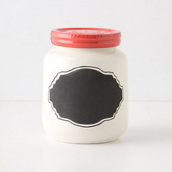 Chalkboard Spice Jar, Coral - How adorable is this chalkboard spice jar from Anthropologie? I've ordered them already and the coral is my have — I have plans to use them in my daughter's built-ins to store all the bits and pieces that make their way into a girl's room.