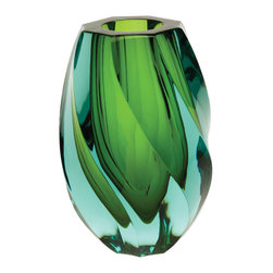 Twist Vase - Swirly and girly, this emerald vase with hints of light blue would be perfect atop a fireplace mantel, maybe with some fresh white flowers.