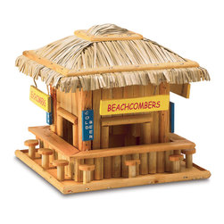 "KOOLEKOO - Beach Hangout Birdhouse - Beachcombing birdies will belly up to this adorable wood snack shack! Just like a favorite seaside hangout, complete with straw roof, signs and ""barstool"" perches."