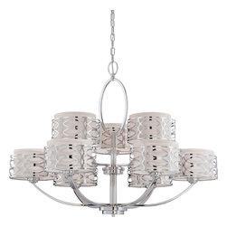 Nuvo Lighting - Nuvo Lighting 60/4630 Harlow Nine Light Chandelier With Slate Gray Fabric Shades - Harlow - 9 Light Chandelier w/ Slate Gray Fabric Shades