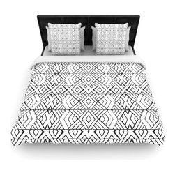 "Kess InHouse - Pom Graphic Design ""Tribal Expression"" Black White Fleece Duvet Cover (King, 104 - You can curate your bedroom and turn your down comforter, UP! You're about to dream and WAKE in color with this uber stylish focal point of your bedroom with this duvet cover! Crafted at the click of your mouse, this duvet cover is not only personal and inspiring but super soft. Created out of microfiber material that is delectable, our duvets are ultra comfortable and beyond soft. Get up on the right side of the bed, or the left, this duvet cover will look good from every angle."