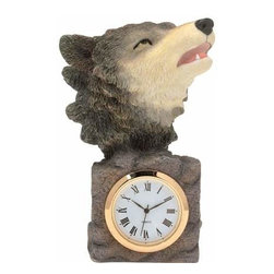 WL - 4 Inch Brown Wolf Howling on Mantel Shaped As a Mini Quartz Clock - This gorgeous 4 Inch Brown Wolf Howling on Mantel Shaped As a Mini Quartz Clock has the finest details and highest quality you will find anywhere! 4 Inch Brown Wolf Howling on Mantel Shaped As a Mini Quartz Clock is truly remarkable.