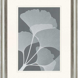 """Paragon Decor - Gingkos II Artwork - Liven up those boring walls with this incredible piece, """"Ginkos II"""" which depicts an elegant silhouette of the detailed veins of a Gingkos bloom on a soiled gray background. This piece captures the true essence of the plant, playing with translucence and contrast to create depth. This piece measures surrounded by an off-white matte and a silver bevel-edged frame. This set can be displayed alone, but looks best with its sister piece, """"Ginkos I."""" This piece measures 32 inches wide, 2 inches deep, and 41 inches high."""