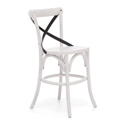 ZUO ERA - Union Square Counter Chair Antique White - Transform your center island into an espresso bar with these charming cafe chairs. Crafted from solid wood and antique metal, the counter height chairs feature a stylish x-back design and are available in three rustic finishes. Care for a latte or cappuccino?