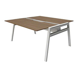 """Turnstone - Turnstone   Bivi Table For Two - Toss out traditional desks and cubicles to create a space where work and passion collide with Bivi Table for Two. This unique desk provides two desks, seated head-to-head, with the ability to grow, change, and expand right along with the business. Lightweight design executed with the user in mind, combined with simple assembly, offers the ability to change and reconfigure Bivi quickly and easily. Integrated cable management along with the optional Plug and Play Power Kit keeps cords neat and tidy while providing space for several power sources. Power sources can be added via the bottom and sides of the media trough allowing for easy access to plugs from the front, back, and top of the desk. Expand Bivi's desktop space by connecting the appropriate number of Bivi Plus Two Desks to meet your needs. Whether collaborating or working solo, the Bivi Table For Two provides ample space for tackling important projects. Product Features:  Multi-person seating with large Table Top Area Unobstructed underside allows for easy collaboration Lightweight 0.5"""" thick table top for easy reconfiguration Hidden channel hides power cords Power trough allows for storage of electrical components or optional Plug and Play Power Kits Option to add on or reconfigure with purchase of additional table tops, legs and accessories 46% recyclable and contains 59% recycled content SCS Indoor Advantage™ Gold certified in North America level™ 1 certified to the BIFMA e3 standard Designed for easy assemby, required tool included Available in several finishes"""