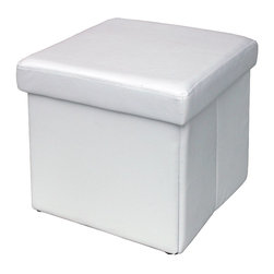 Modus Furniture International - Urban Seating Folding Storage Cube in White Leatherette - We created the Urban Seating collection to provide stylish, affordable seating and storage options throughout the home. Great around a table, in a foyer, a game room or a den, chairs are engineered for easy assembly using durable 9 bolt grooved corner block construction and feature web seat cushions for extra comfort. Storage cubes and benches ship fully assembled and feature padded tops, upholstered interiors and built-in wood serving trays. The cubes and benches are a smart accent to any room of the house and are great for storing bed linens, shoes, toys, magazines, gaming accessories and other household clutter. All Urban Seating products are available in a supple leatherette that's durable, stylish and easy to clean.