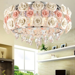 JollyHome - JollyHome Romantic Rose Pendant Lighting Ceramic Flower - Suitable in Bedroom, Living Room, Dinning Room, Hall.Ceramic White and Pink Rose Design.Free Controller and LEDs