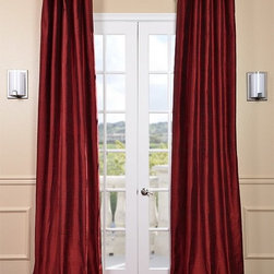 Chili Pepper Textured Dupioni Silk Curtain - Dupioni silk has been around for centuries. The beautiful luster and sheen of this textured silk is timeless & will work in any décor. Whether your home is classic & traditional or modern & contemporary our Textured Dupioni Silk curtains will add color & beauty to any space.
