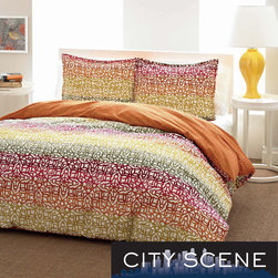 City Scene - City Scene Fiesta Stripe Reversible 3-piece Comforter Set - This City Scene reversible comforter features a tight geometric print overlayed with a gradual and colorful fiesta stripe. The comforter has a very practical all-season warmth rating.