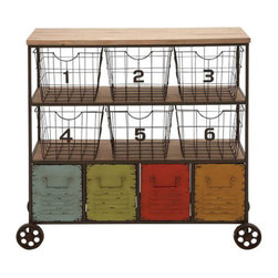 Colors + Numbers Cart - This cool wheeled cart isn't just for the kids' rooms. With a dash of rustic distressing, it pairs playful colored drawers with chic numbered wire baskets to make it an organizational superstar.