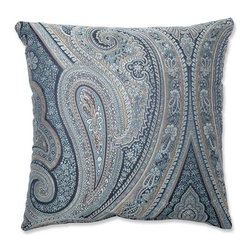 Pillow Perfect - Royal Paisley Blue 16.5-Inch Square Throw Pillow - - Blues, beige and white hues weave together to create this exquisitely detailed paisley-printed throw pillow. Paisley has long stood as a timeless pattern and this color-fasted print will stand the test of time. Elegantly designed and well crafted, this crisp polyester pillow is the perfect stylish accent to your living decor  - Cover Material: 100 percent Polyester  - Fill Material: Plush Filling - 100 percent Polyester Fiber  - Measures: 16.5-Inches H X 16.5-Inches W X 5-Inches D  - Knife Edge and Sewn Seam Closure  - Spot Clean Only  - Made in the USA Pillow Perfect - 556826