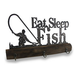 Zeckos - Eat, Sleep, Fish Wood and Metal Decorative Wall Hooks - Perfect for those with a passion for fishing, this decorative wall hanging is a must-have addition for any wall in your home or office. It's great for sprucing up the den, the bedroom, dining room or entryway with its laser cut metal topper featuring 'Eat, Sleep, Fish' and a fly fisherman in weathered silhouette style with three metal hooks attached to a piece of wood that looks like an old log, and great for hanging anything from jackets and hats, to towels and gear. It measures 17 inches (43 cm) long, 10 inches (25 cm) high, 2.25 inches (6 cm) deep with attached hangers on the back that make mounting to the wall easy. It's amazing as an angler's gift, or just as a treat for your own walls