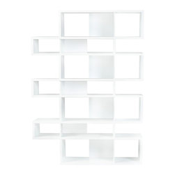 Temahome - London Composition 2010-003, Pure White Frame, Pure White Backs - The London modular bookshelf presents a charismatic, yet truly functional product that can be set against a wall or used as a room divider. With multiple color options you can choose a shelf to be completely in one finish or else contrast the finishes so that the backs and dividers are different from the frame.  Available in three heights, the London is versatile for every sort of interior,  and you can set your imagination free and adapt this piece to create the desired ambiance.