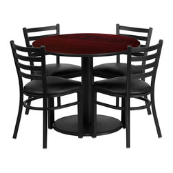 Flash Furniture - Flash Furniture 36 Inch Round Mahogany Laminate Table Set with 4 Chairs - 36'' Round Mahogany Laminate Table Set with 4 Ladder Back Metal Chairs - Black Vinyl Seat [RSRB1030-GG]