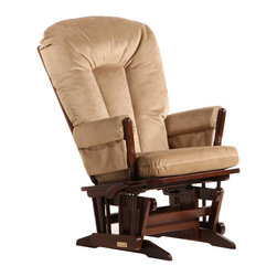 Dutailier - Dutailier 2 Post Glider-Multiposition in Coffee and Light Brown Fabric - Dutailier - Gliders & Rockers - D0182B623091 - About This Product: This Two Post glider offers an exceptionally smooth and extra long glide motion with thick cushions and padded arms. The mechanism locks the glider in 6 different positions and makes it easier to sit in or step out of the glider. It will be the perfect addition to your child�s nursery or living room. There are no sharp edges, the finish is toxic free and this product meets all safety standards.