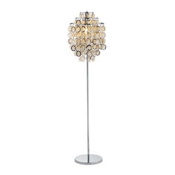 Adesso - Adesso 3637 Shimmy Floor Lamp - Adesso 3637 Contemporary / Modern Shimmy Floor LampEach Shimmy lamp has a three-tier shade. Several rows of 2.5� chrome framed round paper disks dangle from each tier. The disks rotate freely, catching light from inside and outside the shade. The stick body and flat round base are chrome. For your convenience this lamp is provided with a three-way touch sensor switch. Specifications: 60 Watt. 64� Height. Base: 1� Thick x 12� Diameter. Shade: 22� Height x 6� Diameter top tier x 10� Diameter middle tier x 15� Diameter bottom tier. Tiers are 3� apart.Adesso was established in 1994 based on the belief that there was an under-served niche among consumers who sought high-end, contemporary home products at moderate prices. Since then, Adesso has not only revolutionized the home industry with its innovative products, but also gained substantial recognition for its well-designed and well-priced lamps and RTA furniture. From the onset, when Adesso first introduced its lighting products, an array of colors and materials were utilized in the design, including metals, rice-paper, woven fabric, glass, resin, renewable bamboo wood and cork! These materials help make every Adesso product beautifully unique, adding a perfect touch to any home.Features: