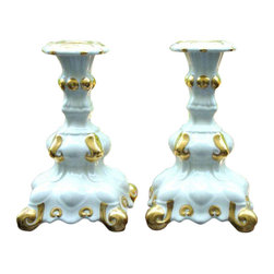 """Consigned Holland Mold White & Gold Candle Holders - A Pair - A lovely pair of vintage Holland Mold white candle holders, with gold details, artist signed. The pair is signed and in excellent vintage condition and would look stunning among any table top decor this Holiday season. 4.15"""" W x 4.15"""" D x 7.0"""" H"""