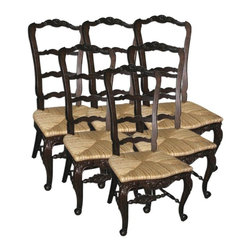 EuroLux Home - 6 New French Country Tall Chairs Walnut - Product Details