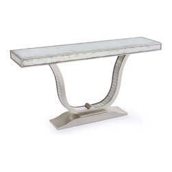 Kathy Kuo Home - Malone Hollywood Regency U Shaped Silver Leaf Mirror Console Table - Sleek and bright, this mirrored, slim lined console was virtually made for those narrow hallways and other spaces which need a little more light and shine.  With a U shaped base, the most immediate treatment for this beauty would be the artful display of floral arrangements or statuary.  Looking for instant fabulous?  Look no further!