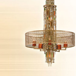 Corbett - Riviera Bronze with Silver Leaf Ten-Light Chandelier - -Crystal baguettes in a collage of hues. Corbett - 123-410