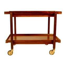 Pre-owned Poul Hundevad Vamdrup Danish Rosewood Bar Cart - This 1960s Danish Modern rosewood bar cart on wheels is in excellent condition. The bottom tier can be removed to form a longer surface on the top. The Danish control seal and manufacturer seal (Poul Hundevad Vamdrup) are on the underside of the first tier.